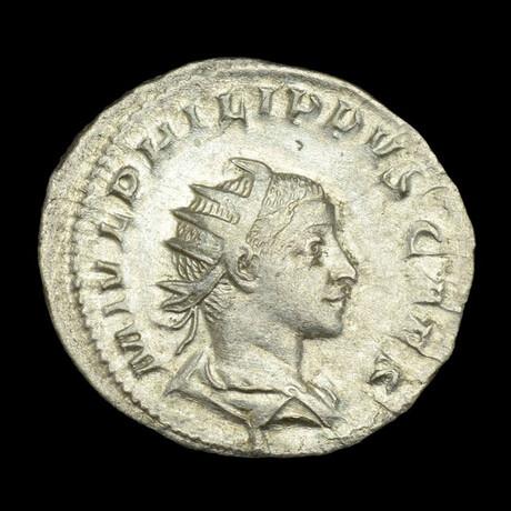 Roman Imperial Silver Antoninianus // Emperor Philip II. 3rd Century A.D.
