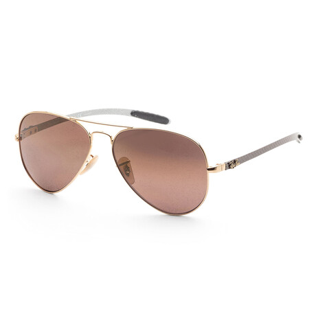 Unisex RB8317CH-001-6B Polarized Sunglasses // Shiny Gold + Purple Mirror + Gold Gradient