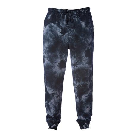 Pigment Dyed Fleece Sweatpants // Tie Dye Black (S)