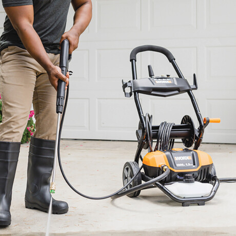 WORX Electric 1600 PSI / 1.3 GPM - 13A Pressure Washer // Rolling Cart + 30' Hose + 6 Nozzles