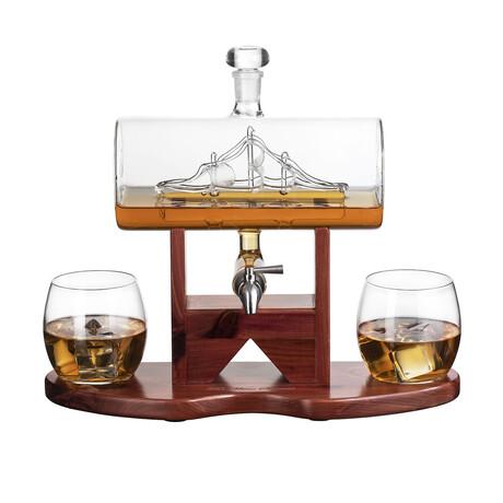Antique Ship Set // Decanter + 2 Glasses