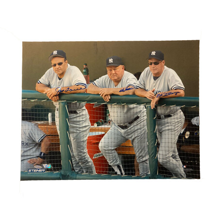 Joe Torre, Don Zimmer & Mel Stottlemyre // Signed // New York Yankees