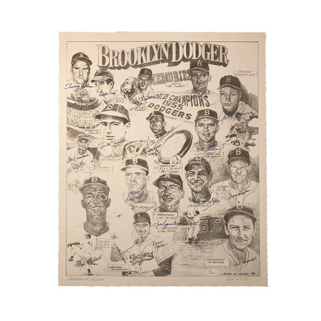 Brooklyn Dodgers Stars Multi-Signed Lithograoh // Signed