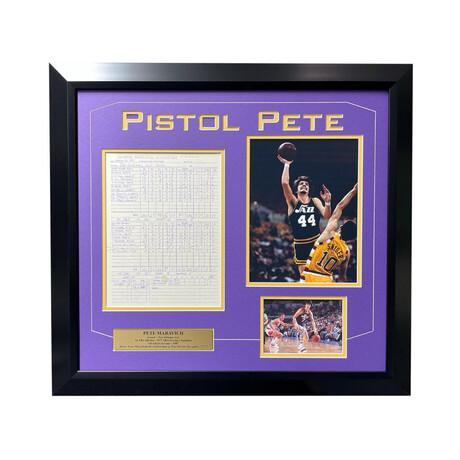 """Pistol"" Pete Maravich // Framed Game-Used Scoresheet // New Orleans Jazz 1977"