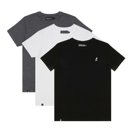 Crew Neck Tee // Pack of 3 // Black Anthracite + Brilliant White + Charcoal Mix (S)