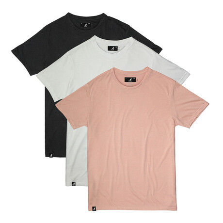 Super Soft Tee // Pack of 3 // Dusty Rose + White + Black (S)