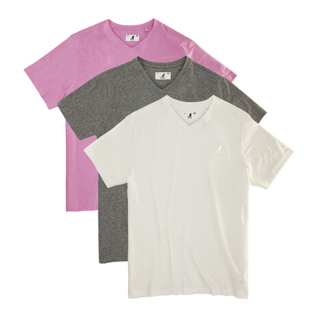 V-Neck Tee // Pack of 3 // White + Charcoal Mix + Pink (S)