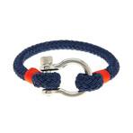 "Jean Claude Jewelry // Nautical ""D"" Clamp Closure Bracelet // Blue"