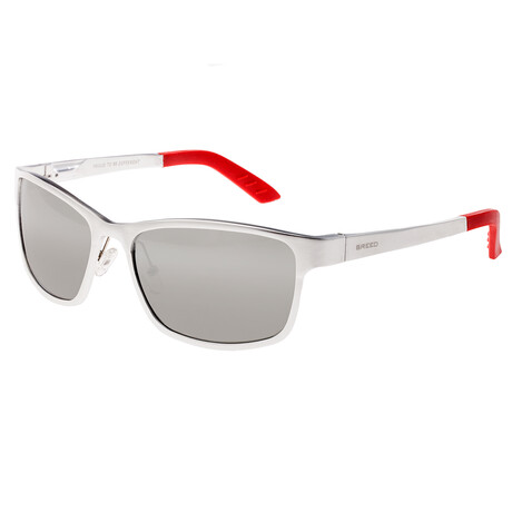 Hydra Polarized Sunglasses // Silver Frame + Silver Lens (Black Frame + Blue Lens)