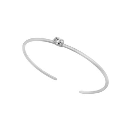 Estate 18k White Gold Diamond Open Bracelet // Pre-Owned