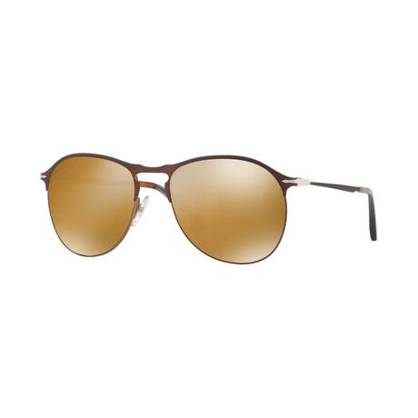 Men's Metal Classic Persol Sunglasses // Brown + Gold Mirror