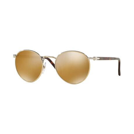 Men's Metal Round Sunglasses // Gold Havana + Light Brown Gold