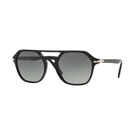 Men's Square Aviator Acetate Sunglasses // Black + Gray Gradient