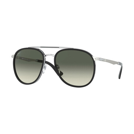 Men's Aviator Sunglasses // Black Silver + Gray Gradient