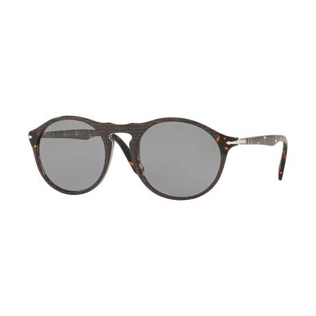 Men's Round Polarized Sunglasses // Havana + Gray (54-21-145)