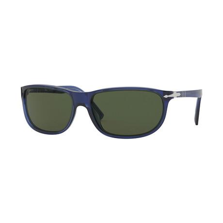 Men's Wrap Acetate Sunglasses // Crystal Blue + Green