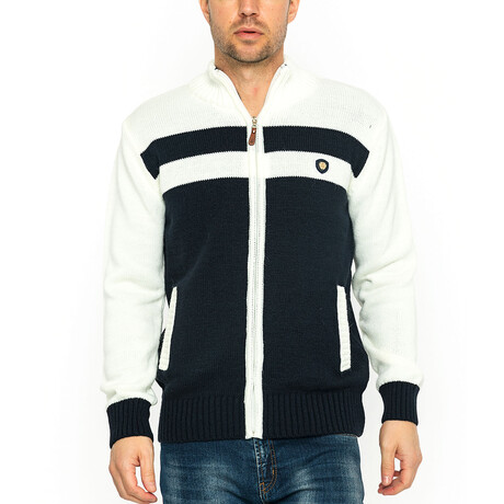 Jax Zip Jacket // Ecru + Navy (XS)