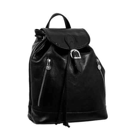 White Noise // Leather Backpack // Black