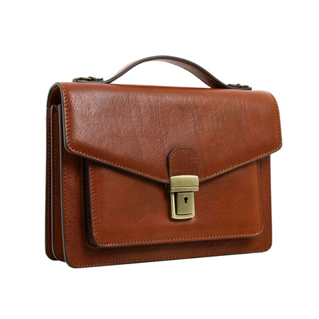 Nine Stories // Small Leather Briefcase // Brown