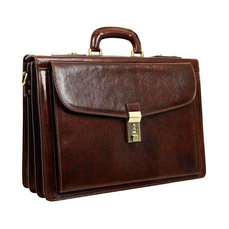 The Watchmen // Leather Briefcase // Dark Brown