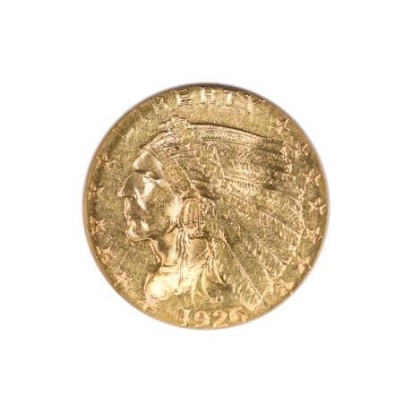 U.S. $2.50 Indian Head Gold Piece (1908-1929) // NGC Certified MS61 // Wood Presentation Box