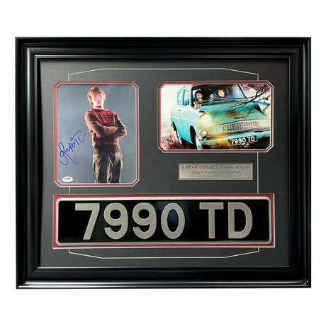 """""""Harry Potter"""" // Weasley's Ford Anglia License Plate // Rupert Grint // Signed + Framed Collage"""