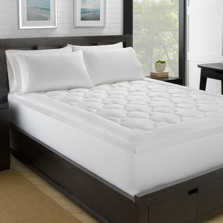 "Fluffy Clouds 100% Cotton Plush Fiber Bed // 2"" Loft (Twin)"