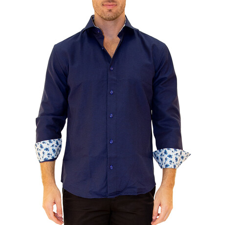 Tejay Long Sleeve Button Up Shirt // Navy (XS)