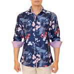 Mathieu Long Sleeve Button Up Shirt // Navy (M)