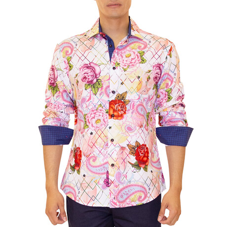 Simon Long Sleeve Button Up Shirt // Pink (XS)