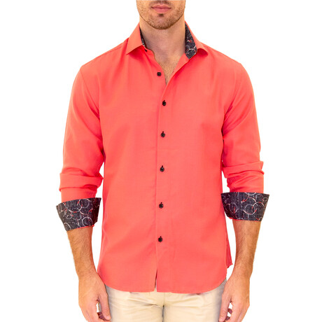 Julian Long Sleeve Button Up Shirt // Fuchsia (XS)