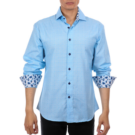 Edoardo Long Sleeve Button Up Shirt // Turquoise (XS)
