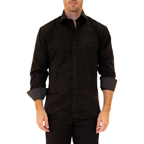 Wout Long Sleeve Button Up Shirt // Black (XS)