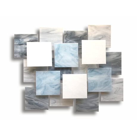 """Glacial AP"" Glass and Metal Wall Sculpture"