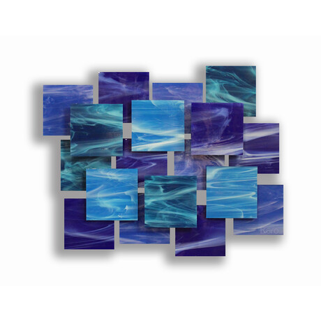 """Cascade AP"" Glass and Metal Wall Sculpture"