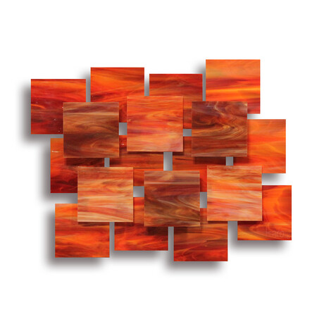 """Sunset AP"" Glass and Metal Wall Sculpture"