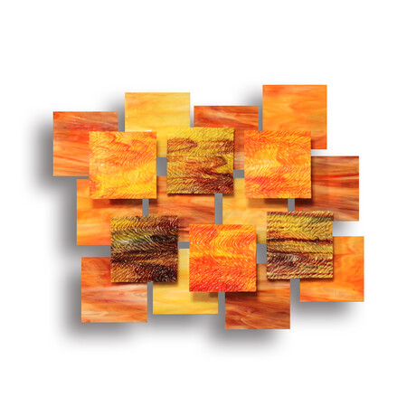 """Autumn AP"" Glass and Metal Wall Sculpture"