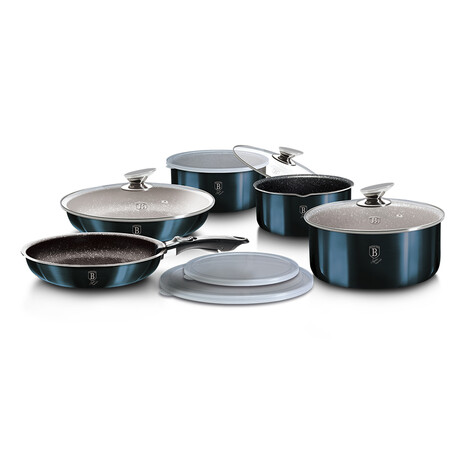 12-Piece Cookware Set + Detached Ergonomic Handle (Aquamarine)