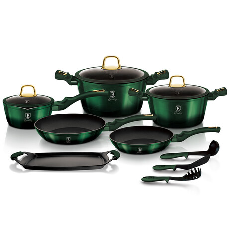 12-Piece Kitchen Cookware Set // Emerald