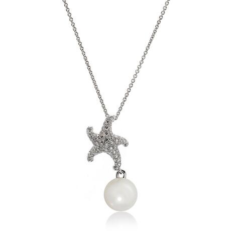 Mikimoto 18k White Gold Diamond + White South Sea Pearl Pendant Necklace II // Store Display