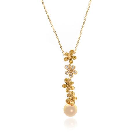 Mikimoto 18k Yellow Gold Diamond + South Sea Pearl Pendant Necklace // Store Display