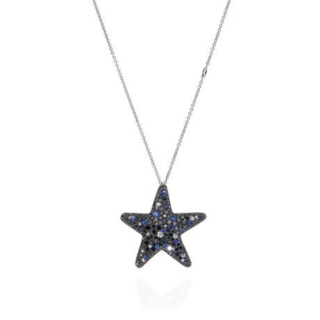 Pasquale Bruni Orione 18k White Gold Diamond + Sapphire Necklace // Store Display