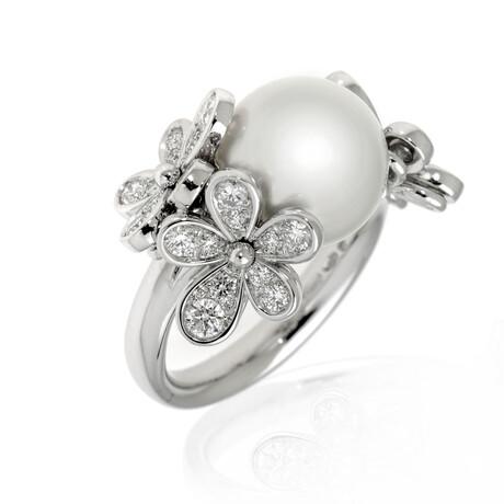 Mikimoto 18k White Gold Diamond + White South Sea Pearl Ring // Ring Size 7.5 // Store Display