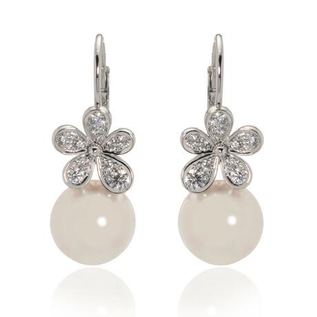 Mikimoto 18k White Gold Diamond + White South Sea Pearl Drop Earrings II // Store Display