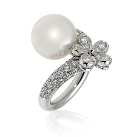Mikimoto 18k White Gold Diamond + South Sea Pearl Cocktail Ring // Ring Size 6.5 // Store Display