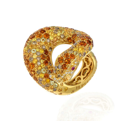 Pasquale Bruni Peccato 18k Yellow Gold Diamond + Sapphire Ring // Ring Size 6.5 // Store Display