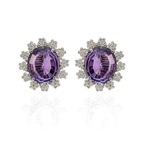 Pasquale Bruni Marilyn 18k White Gold Diamond + Amethyst Earrings // Store Display