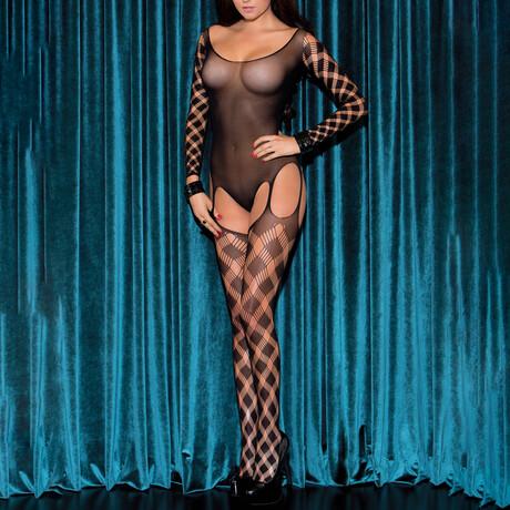 Linda Faux Plaid Body Stocking // Black