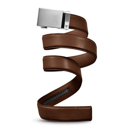 """40mm Best Sellers Leather Belt // Steel + Mocha Brown (Small // 28""""-32"""" Waist)"""