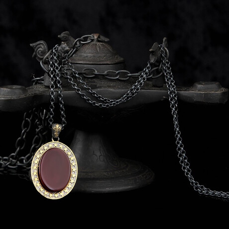 Red Agate Necklace // Gold + Black + Red